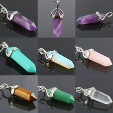 Gemstone Pendulum Pendant Charms Fit Necklace Amethyst/Turquoise/Quartz/Fluorite