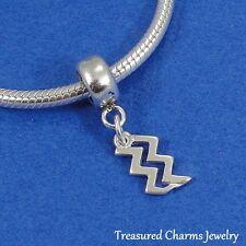 .925 Sterling Silver AQUARIUS ZODIAC SIGN EUROPEAN Dangle Bead CHARM