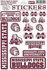 Mississippi State Bulldogs Vinyl Die-Cut Sticker Decals - 18 per sheet