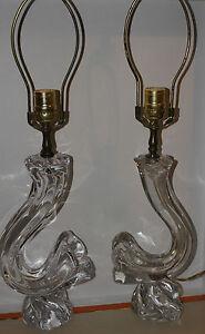 DAUM NANCY FRANCE GLASS SET 2 LAMPS C.1970 DAUM LAMP HOME DECOR UNIQUE RARE