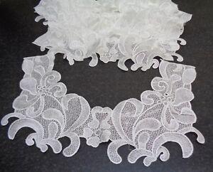 Job lot 12 pieces ivory lace appliques floral lace collar motifs with defect
