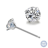 925 Sterling Silver earring CZ Cubic Zirconia clear crystal DLE07
