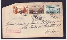 Busta Colonie Eritrea per Italia Tariffa 1,50 Lire Posta Aerea WA57