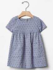 GAP Baby / Toddler Girl Size 18-24 Months NWT Blue Chambray Short-Sleeved Dress