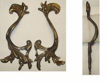 Ancien Lot de  2 Poignées en bronze Plaques d'ornement, meuble, commode