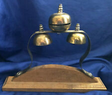 Brass Horse Hames Shaft Sleigh Saddle Bells Triple Mounted Jingle Harness Vtg
