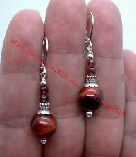 Pretty 10mm Smooth Red Tiger Eye Stone Silver Dangle Earrings