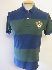 "Genuine Ralph Lauren men's Blue & Green Hooped Polo Shirt S 34-36"" Euro 44-46"
