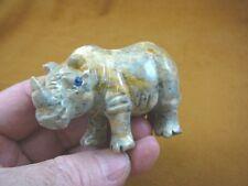 (Y-Rhi-405) gray tan Rhinoceros Rhino carving stone gemstone Soapstone Peru