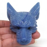 "4.1"" Wolf Head Pendant Natural Gemstone Blue Quartz Crystal Carved Jewelry Decor"