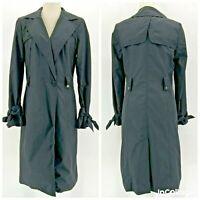 Cole Haan Black Midi Trench Coat Jacket Womens Medium