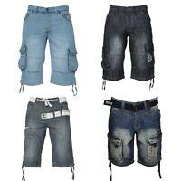 Mens Enzo Denim Designer Multipocket Casual Faded Shorts Jean Half Pants 28-48