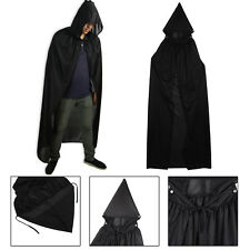 Unisex Adult Men Hooded Cape Long Cloak Black Halloween Costume Dress Coats SY
