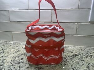 Christmas Thirty One 31 Littles Carry All  Red Chevron Stripe Small Basket Bag