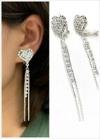 Silver Heart Diamante Long Dangle Tassel Clip On Earrings Crystal Non Pierced UK