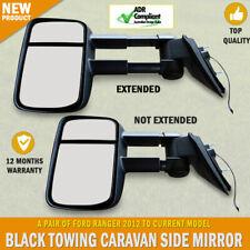 NEW Black Electric Towing Caravan Side Mirrors Pair Ford Ranger Series
