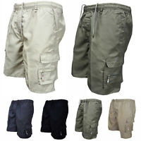 Men Summer Shorts Combat Pants Casual Strentchy Cargo Pocket Drawstring Trousers
