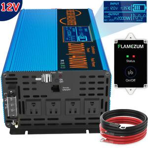 2000W 4000W Pure Sine Wave Inverter 12V To AC 110V LCD RV Solar Power Converter