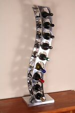 Wine Drinks Rack 9 Bottle Polished Aluminium Freestanding Unique Gift ACWR-0005