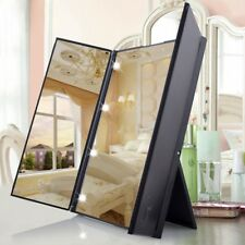 8 LED Makeup Mirror Tri-sided Folding Table Lighted Touch Screen Cosmetic Vanity