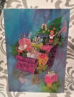 One Pretty Vintage Litho NOS Sleigh Packages Boxes Christmas Mid Century Card