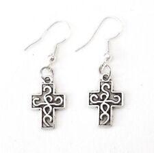 925 Sterling Silver Hooks Vintage Silver Alloy Irish Celtic Knot Cross Earrings