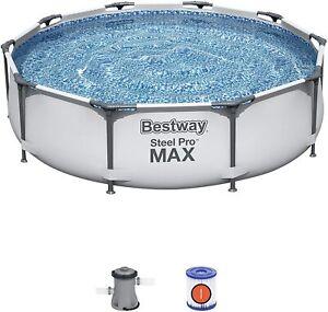 Bestway Steel Pro Frame Swimming Pool 10ft x30in 2021 Filter Pump Outdoor Garden