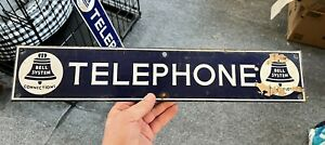 """Antique Porcelain Sign """"Bell System Telephone Connections"""" Blue & White Enamel"""