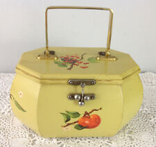 Vintage 1970's Hand Painted Wood Purse Handbag Yellow with Fruit Lined w/Feet