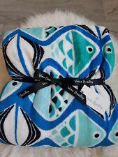 "New Vera Bradley Plush Throw Blanket 80 x 50""  Fish New!!!!"