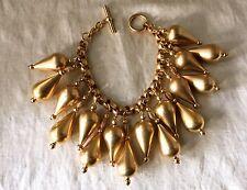 1980's  Robert Lee Morris Donna Karan 24k Gold Plate Tear Drop Charm Bracelet
