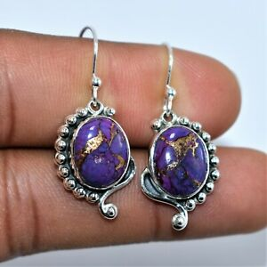 Nice Look Copper Purple Turquoise Gemstone 92.5 Fine Silver Earring