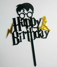 Harry Potter Acrylic Happy Birthday Cake Topper Decoration Reusable Unisex Black
