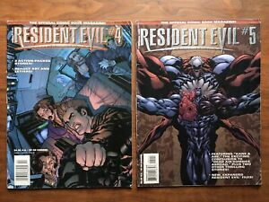 Lot of RESIDENT EVIL comic book magazines ISSUES 4 and 5 1998 DC RARE low grade