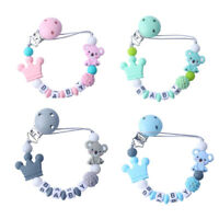 Koala Crown Silicone Beads Personalized Baby Teething Wood Clips Pacifier Chain