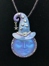 Kirks Folly Seaview Moon Witch Pin/Enhancer Purple With Crystal Necklace RARE
