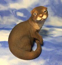 Adorable Vintage Roger Brown Violet Sea Otter Figurine Babies Endangered Species