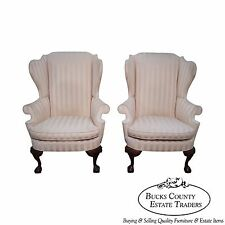 Southwood Mahogany Ball & Claw Foot Pair of Chippendale Style Wing Chairs