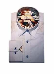 Claudio Lugli Mens Long Sleeve Pinstripe Shirt Sky