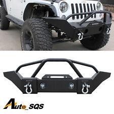 Front Bumper Fit Jeep 2007-2016 Wrangler JK Black Heavy Duty With Winch Plate