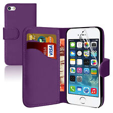 PURPLE Wallets leather plainCase Cover with clip and Card Slots for iPhone 5/5S