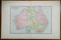 "AUSTRALIA 1902 Vintage Atlas Map 22""x14"" Old Antique Original CANBERRA ADELAIDE"