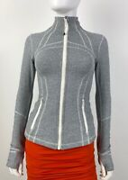Lululemon 4 US 40 IT S Gray White Stretch Zip Front Jacket Coat Runway Auth Mint