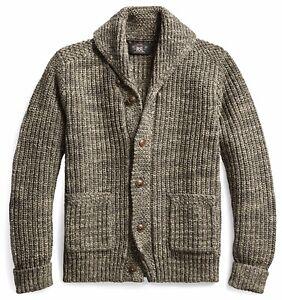 RRL Ralph Lauren Vintage Inspired Cotton Wool Shawl Cardigan-MEN- XS