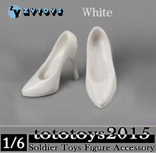 ZY Toys 1/6 White Female Fashionable Clothes High Heeled Shoes Boots Figure