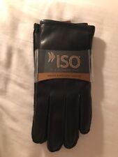 Women's ISOTONER Brand Black LEATHER Dress Gloves - LG - $68 MSRP - 25% Large