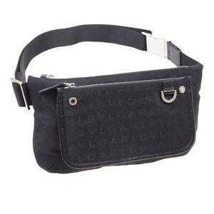 BVLGARI LOGOMANIA Waist Bum Bag Pouch GCEAEG Purse Black Canvas Leather 04907