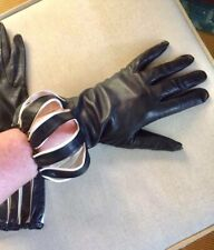 HIGH FASHION BLACK LEATHER GLOVES - Harlequin, 7B, Vintage, Great Cond.  (5F12)