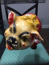 Vintage Chalkware Piggy Bank Pig Red Yellow Black Heavy Eyebrows 11�