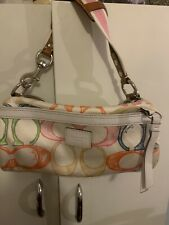 COACH☆PINK GRAPHIC SCRIBBLE LOGO☆BARREL BAG☆WHITE LEATHER TRIM☆